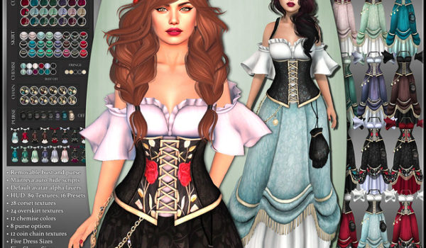 Realm: Mesh Fantasy Gown for SL Role Play Characters