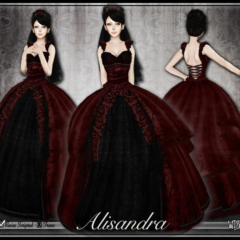 Alisandra Wedding Gown: Dark Versions in Red and Purple