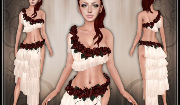 Aphrodisia: Greek Goddess Costume with Roses. Five Colors.