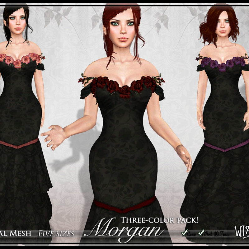 Morgan: Mesh Mermaid Gown with Colorful Roses